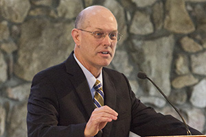 Tony Floyd, next president of Mars Hill University, speaks to students March 9.
